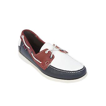 Sebago men's B73422REDWHITEBLUE white / Blau leather moccasins