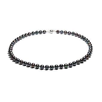 Kragen Frau Ras des Halses in Perlen Wasser weich schwarz und Silber 925 Verschluss