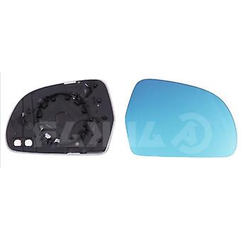 Right Blue Mirror Glass (heated) & Holder For Skoda SUPERB 2008-2015