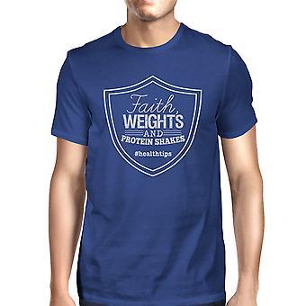 Faith Weights Mens Royal Blue Lightweight Workout Tee T-Shirt Gift