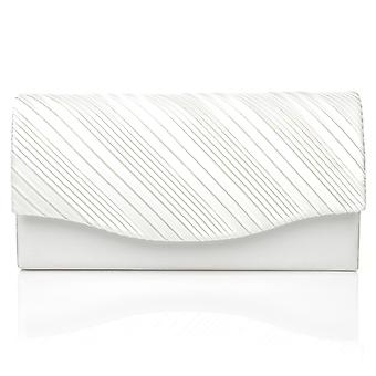 DINKY White Satin Small Size Pleated Fold Over Clutch Bag