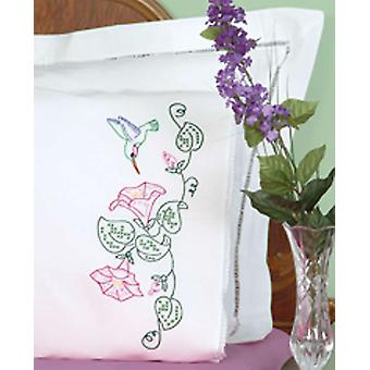 Stamped Pillowcases With White Lace Edge 2 Pkg Hummingbird & Morning Glories 1800 293
