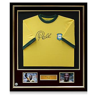 Deluxe Framed Pele Signed Brazil 1970 Shirt