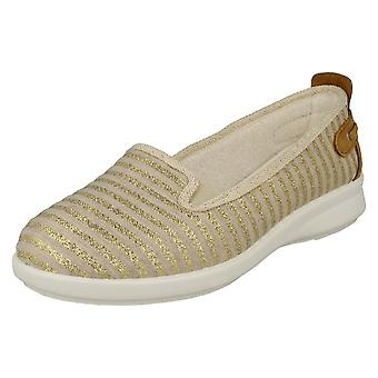 Ladies Easy B Casual Loafers Cortney 72224G - Beige/Gold Stripe Textile - UK Size 4 6V - EU Size 36.5 - US Size 6