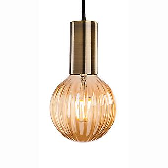 Firstlight Hudson 3 Antique Brass Pendant Supplied With Decorative Glass LED Lamp 3