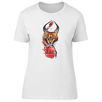 Brown Cat And Flower Drawing Tee Women's -Image by Shutterstock