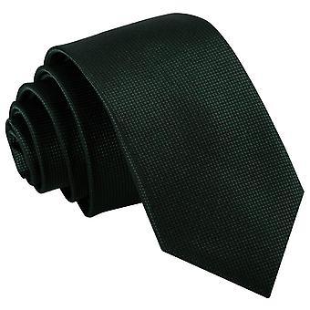 Dark Green Solid Check Slim Tie