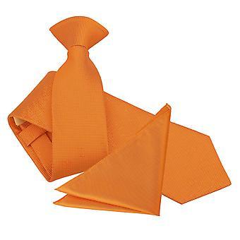 Celosia oransje Solid sjekk klippet slank Tie & Pocket Square sett