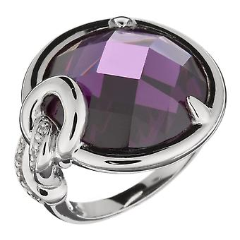 Orphelia Silver 925 Ring Round Amethyst  Zirconium   ZR-3650