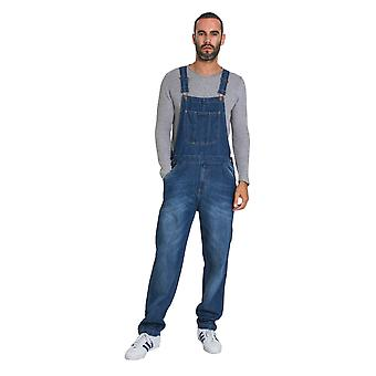 USKEES Christopher Mens Dungarees - Midwash Denim Overalls Loose Fit
