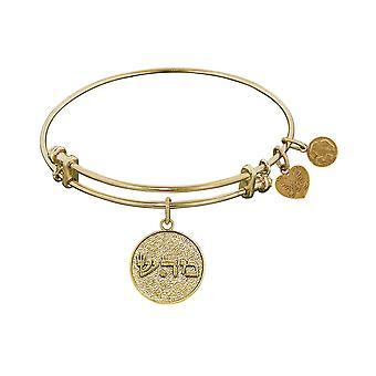 Yellow Stipple Finish Brass Healing Shema-OR Angelica Bangle Bracelet, 7.25
