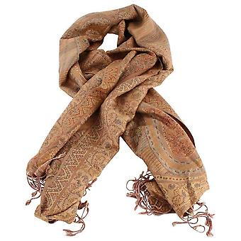 Bassin and Brown Birch Large Paisley Scarf - Beige/Brick/Camel