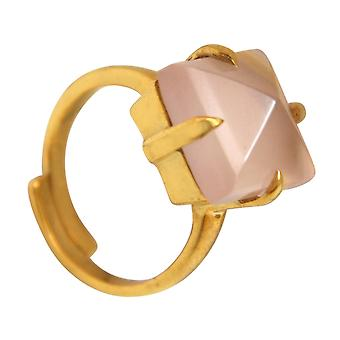 Gemshine - women's - ring - gold plated 925 Silver - chalcedony - pink - 12mm - size adjustable