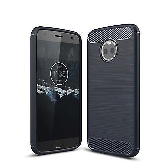Motorola Moto X 4 TPU case carbon fiber optics brushed protective case Blue