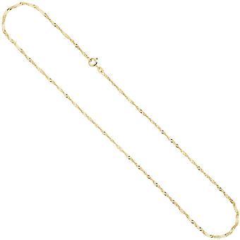 Singapore chain ketting ketting 585 geel goud 1.8 mm 42 cm gouden ketting voorjaar ring gesp