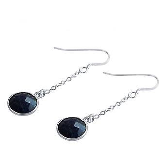 Damen - Ohrringe - Ohrhänger - 925 Silber - Saphir - Blau - 2 cm