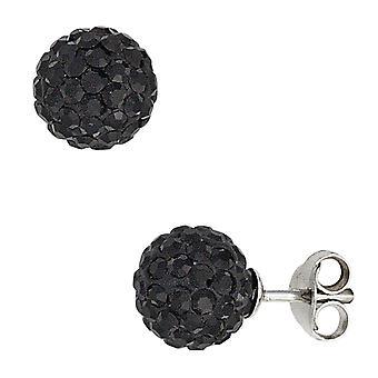 Øret plug bold 925 sølv med krystaller sorte øreringe