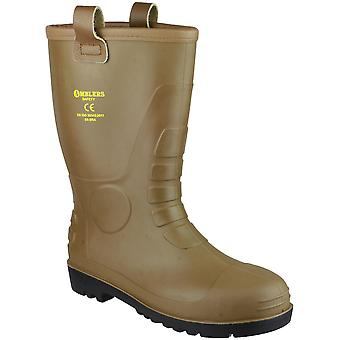 Amblers Safety Mens FS95 PVC PVC Waterproof Safety Rigger Boots Brown