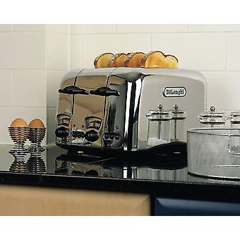 Delonghi CTO4.C Retro Style Stainless Steel 4 Slice Bread Toaster Chrome