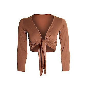 Ladies Long Sleeve Tie Up Colour Bolero Shrug Women's Cardigan Wrap Top
