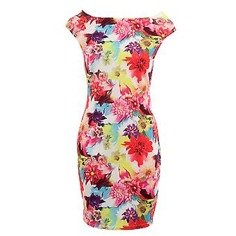 Ladies ärmellos Multi Color Floral Print Strecken Bodycon Damen kurzes Kleid