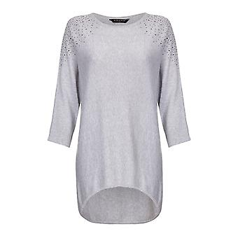 HI LO HEM KNITTED TUNIC WITH DIAMANTE ON THE SHOULDER