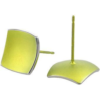 Ti2 Titanium Square koepels Stud Oorbellen - citroen geel