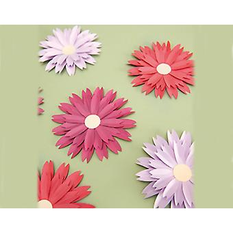 6 Diecut Daisies for Adults Craft - Red and Lilac   Paper Floristry Supplies
