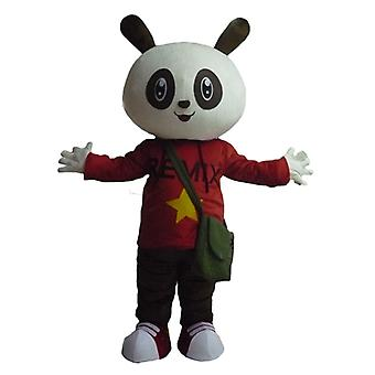 mascot SPOTSOUND of black and white rabbit in red and black outfit