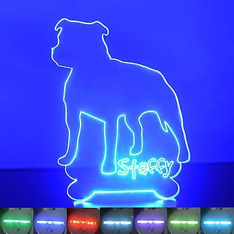 Staffordshire Pit Bull Terrier Colour Changing LED Acrylic Light