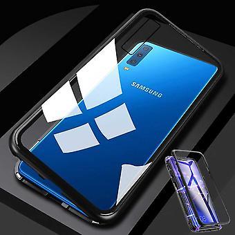 Для Samsung Галактика A7 A750F 2018 магнит / металл / стекло прозрачный черный мешок случае бампер случае новые