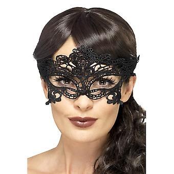 Embroidered Lace Filigree Heart Eyemask, BLACK