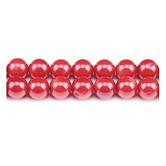 Strand 95 + Red Coral 4mm Plain runda pärlor GS1862-1