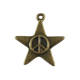 Pakke 10 x Steampunk antik Bronze tibetanske 22 x 24 mm stjerne charme/vedhæng Y08065