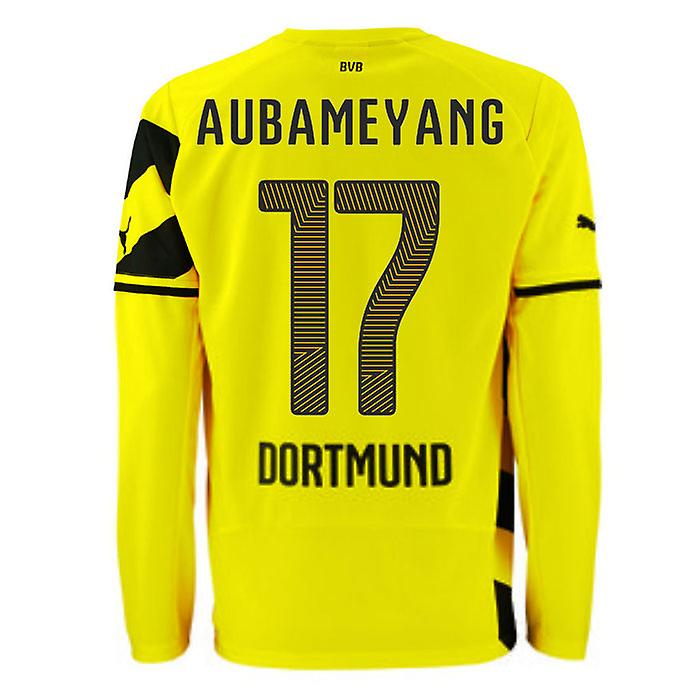2014-15 Borussia Dortmund Long Sleeve Home Shirt (Aubameyang 17)