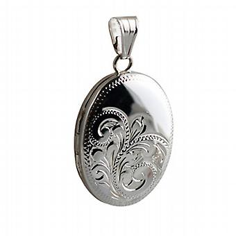 Silver 27x20mm hand engraved oval Locket