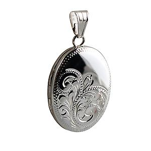 Silver 25x19mm hand engraved oval Locket