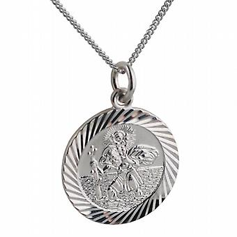 Silver 21mm round diamond cut edge St Christopher Pendant with a curb Chain 18 inches