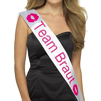 Team Braut Sash, White, with Pink Lettering Fancy Dress Accessory
