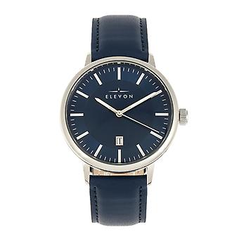 Elevon Vin Leather-Band Watch w/Date - Silver/Blue