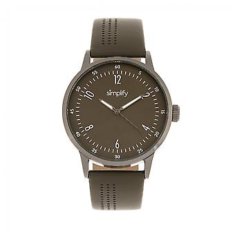 Simplify The 5700 Leather-Band Watch - Olive