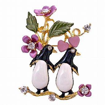 Romantische Brosche Valentine Love Duett Twin Pinguin Brosche