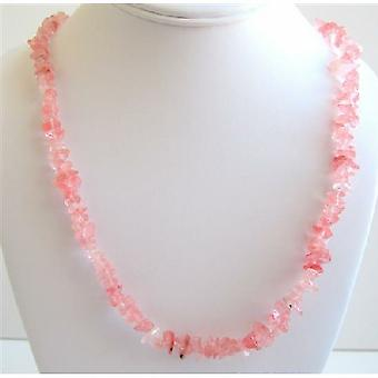 Soothig Stylish Necklace Rose Pink Nuggets Accented Long Necklace