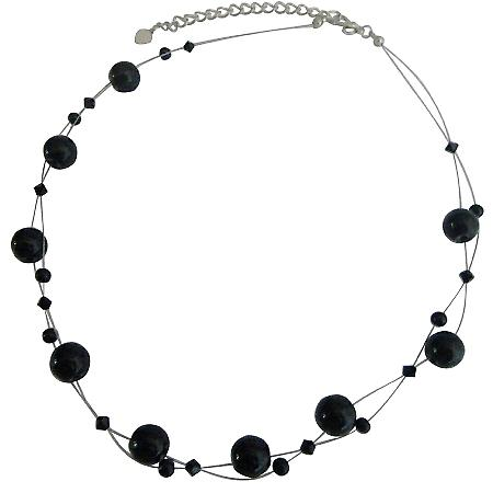 Jet Crystal Jewelry Set Genuine Swarovski Affordable Necklace Set With Agate Glass Beads Floating Necklacec Set