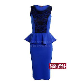 New Ladies Sleeveless Mesh Insert Peplum Lace Floral Pattern Women's Bodycon Dress