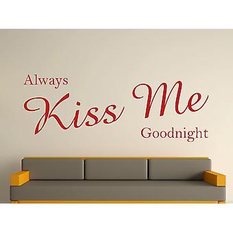 Always Kiss Me Goodnight Wall Art Sticker - Dark Red