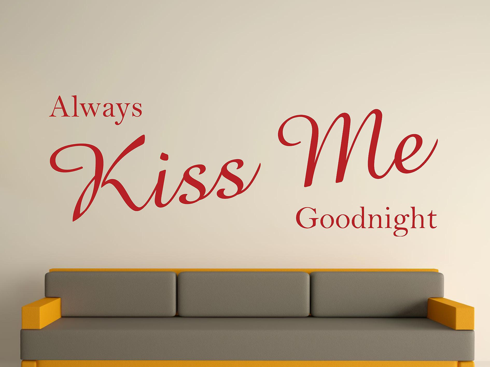 Always Kiss Me Goodnight Wall Art Sticker - Dark Red
