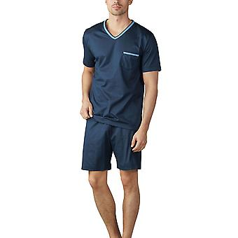 Mey Men 18871-668 Men's Uni Basic Yacht Blue Striped Pyjama Set