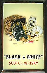 Black & White Whiskey embossed steel sign (dogs/basket)  (hi 3020)
