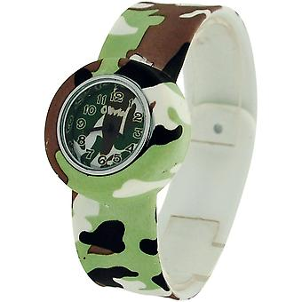 Kids - Boys - Girls Analogue Green/Brown/White Army Slap On Sports Watch